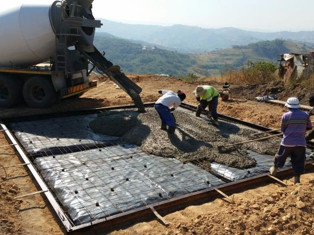 RDP housing floor slab from our Mobile Plant in Valley of 1000 Hills, KZN